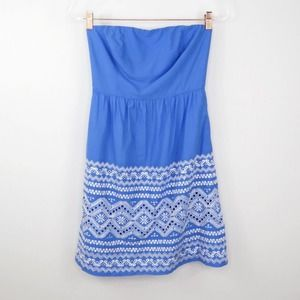 J. Crew Blue Embroidered Lace Strapless Dress
